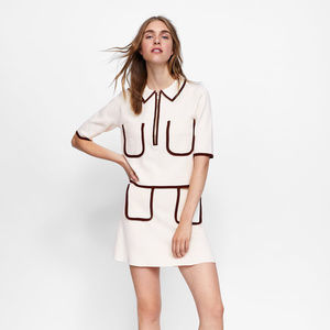 NWT Zara L Cream Knit Contrasting Mini Skirt